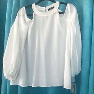 Tahari Cold Shoulder white blouse M